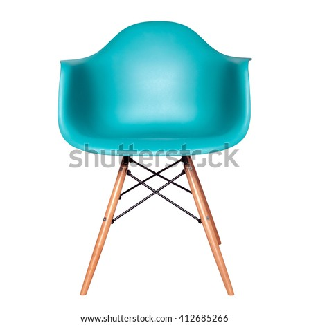 Blue color chair, modern designer chair isolated on white background. Plastic chair cut out. Series of furniture #412685266