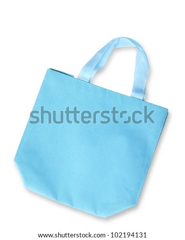 Blue color fabric bag or reusable shopping bag isolated, clipping path