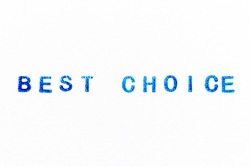 Blue color ink of rubber stamp in word best choice on white paper background