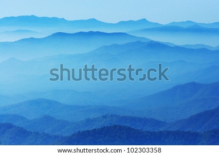 blue color of mountains during sunset  ,Chiang Mai , Thailand