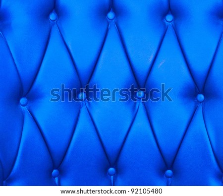 Blue color of upholstery leather pattern as background