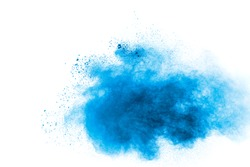 Blue color powder explosion on white background.