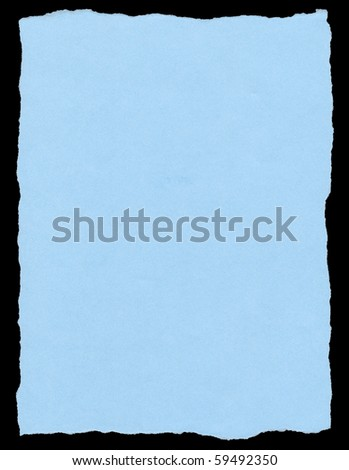 Blue color torn paper page isolated on a black background.
