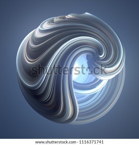 Blue colored abstract twisted shape. Computer generated geometric illustration. 3D rendering