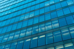 blue colored glass facade
