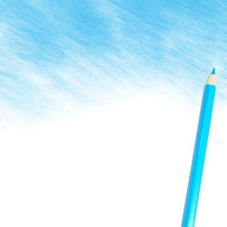 blue colored pencil drawing on a white background