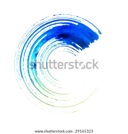 Blue colored round brush stroke