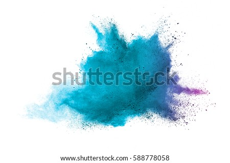 Blue colorful powder explosion on white background. Colored cloud. Colorful dust explode. Paint Holi. #588778058