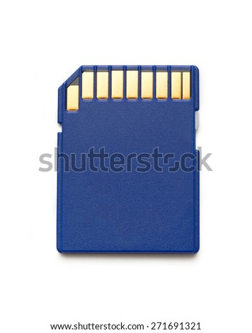 Blue compact memory card for camera in closeup