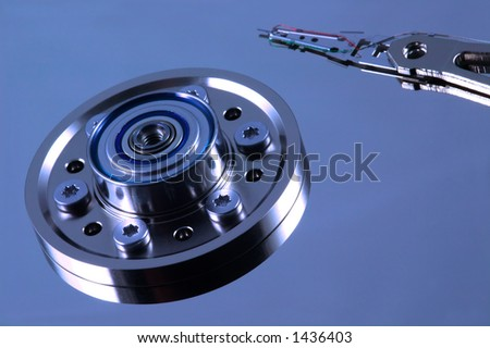 Blue Computer Hard Disk - stock photo