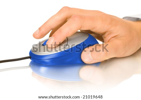 blue computer mouse and hand with reflection