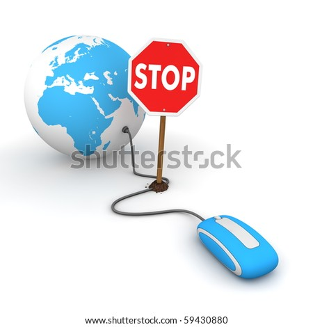 blue computer mouse is connected to a blue globe - surfing and browsing is blocked by a stop sign that cuts the cable