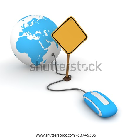blue computer mouse is connected to a blue globe - surfing and browsing is blocked by a yellow warning sign that cuts the cable - sign as an empty template for your own text