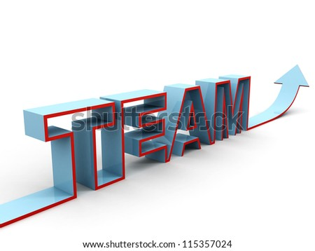 blue concept TEAM text with growing arrow on white background