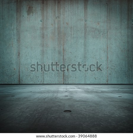 Blue concrete room