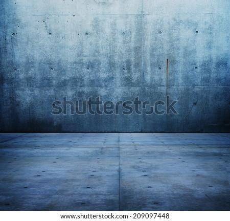 Blue concrete room or corridor.