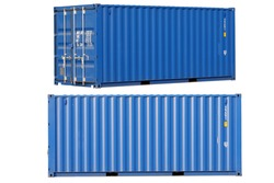 Blue container Cut the white background for easy use.