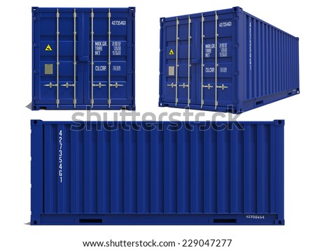 Blue Container in Three Dimensions Isolated on White Background.