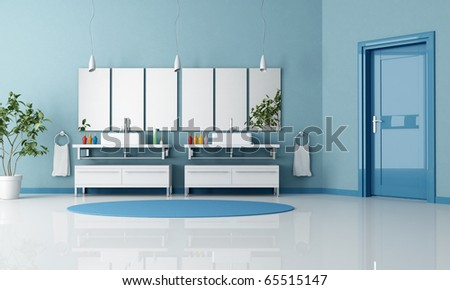 blue contemporary bathroom with double contemporary sink and door - rendering