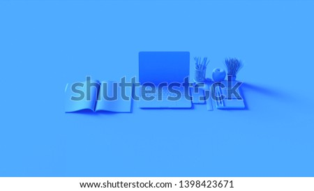 Blue Contemporary Hot Desk Office Setup with Laptop Mobile Phone Notepads Pens Magazine Calculator an Bull clips 3d illustration 3d rendering
