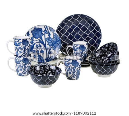 Blue cookware set, luxurious dishware set isolated on white background, Concept of restaurant, cooking and service.