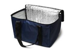 Blue cooler bag on white background