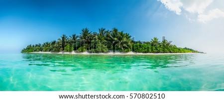 Blue coral sea and island panorama