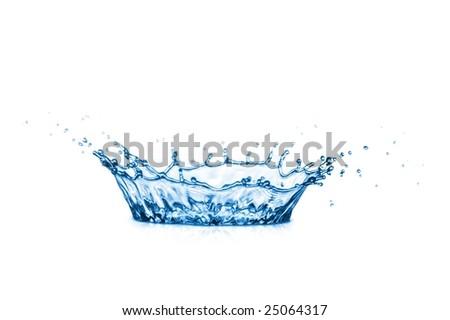 blue corona from splash of water on white background