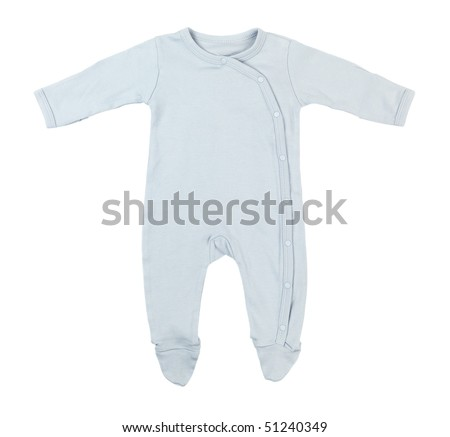 Blue cotton baby sleeper isolated on white background