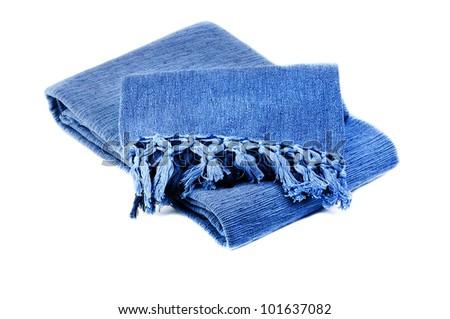 blue cotton blanket  isolated on  white  background - stock photo