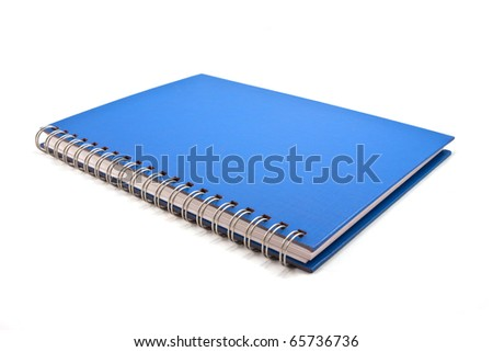 blue cover of notebook isolated on white background