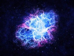 Blue Crab Nebula - Elements of this Image Furnished by NASA
