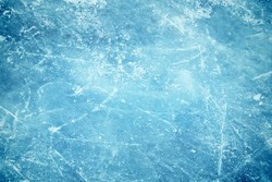 Blue cracked surface of the  ice surface