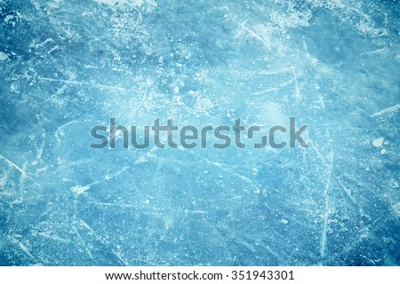 Blue cracked surface of the  ice surface #351943301