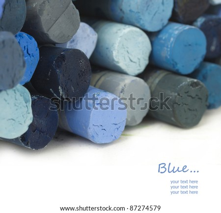 blue crayons with place for your text