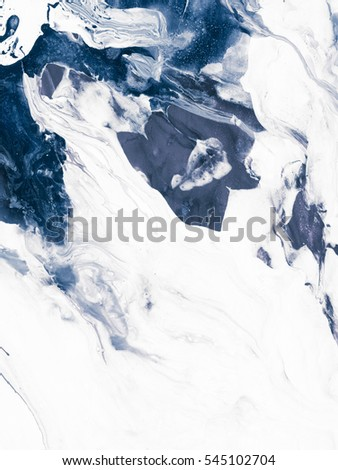 Stock Photo Blue creative abstract hand painted background, wallpaper, texture, close-up fragment of acrylic painting on canvas with brush strokes. Modern art. Contemporary art.