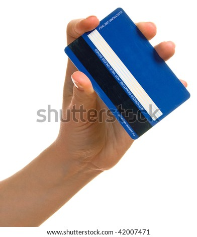 Blue credit card in a female hand. Isolation on a white background