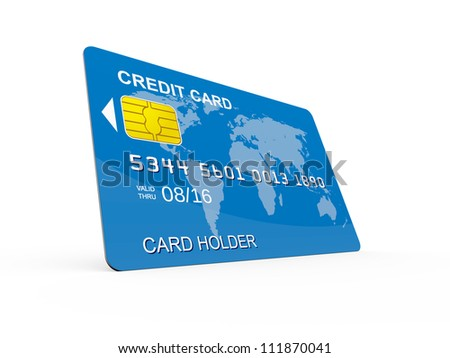 Blue credit card on perspective, isolated on white.