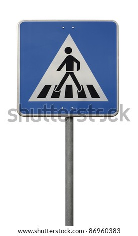 blue crosswalk sign isolated on white
