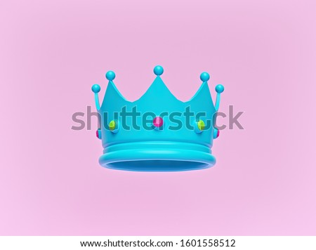 blue crown with jewels isolated on pastel pink background. Trendy Minimal design. 3d rendering