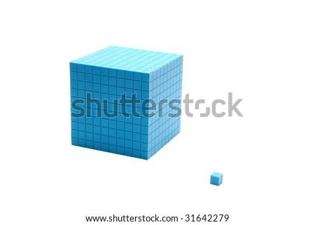 blue cube  isolated on white background.