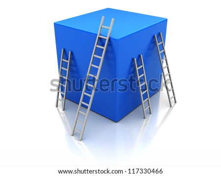 Blue cube with ladders, concept success