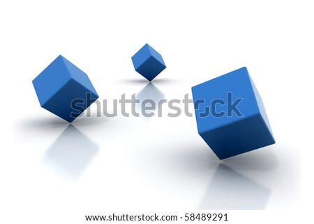 Blue cubes isolated on white