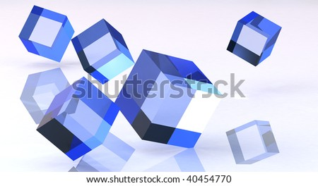 blue cubes on clean background