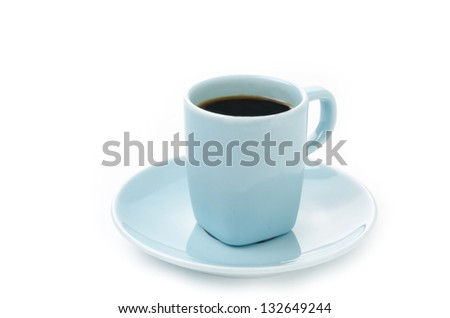 Blue cup of coffee isolated on a white background