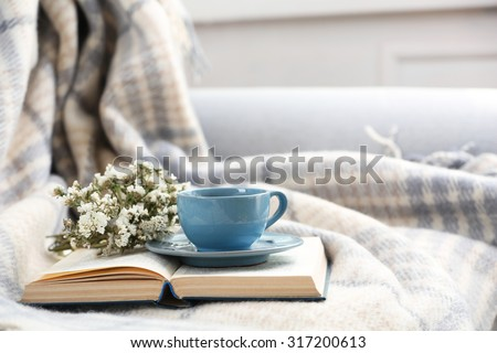 Blue cup of coffee with open book on sofa in room