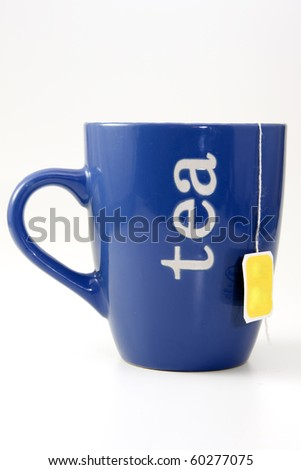blue cup of tea over white background