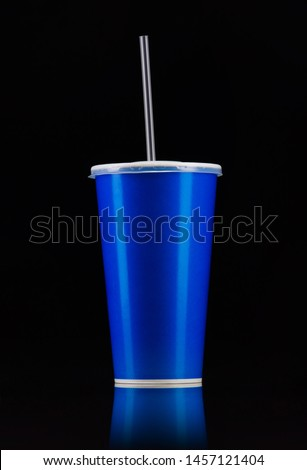 Blue cup with cap and tube isolated on black background. Concept of refreshments in cinema or watching movies #1457121404