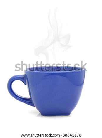 Blue cup with hot drink on white background