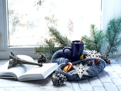 Blue cup with tea and open book on the background of window with  winter pattern. The concept of cozy decor.Closeup. Copy space.